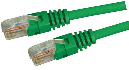 Dynamix 7.5M Green Cat 5 Enhanced UTP Patch Lead (T568A Specification) 350MHz Slimline Molding & Latch Down Plug