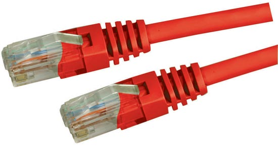 Dynamix 7.5M Red Cat5 Enhanced UTP Patch Lead (T568A Specification) 350MHz Slimline Molding & Latch Down Plug