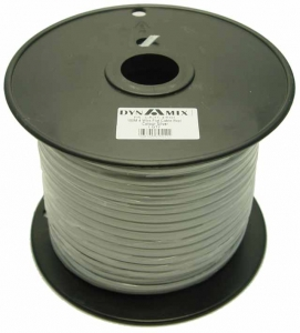 Dynamix 100M Roll 6 Wire Flat Cable. Silver colour on a plastic reel