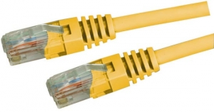Dynamix 3M Yellow Cat 5 Enhanced UTP Patch Lead (T568A Specification) 350MHz Slimline Molding & Latch Down Plug