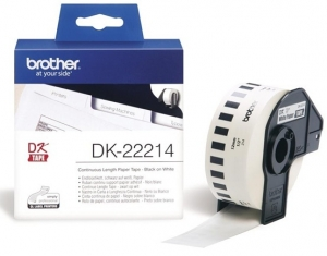 Brother P-Touch DK22214 12mm White Continuous Length Removable Paper Tape