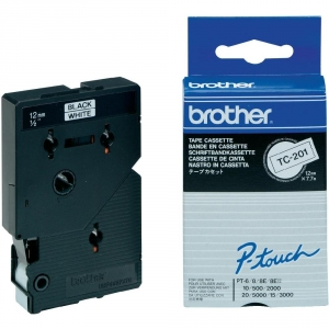 Brother P-Touch TC201 12mm Black on White Label Tape