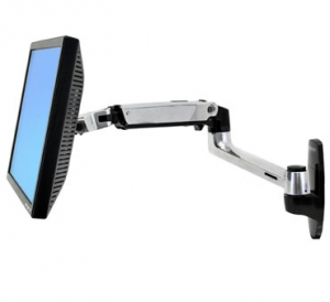Ergotron LX Wall Mount LCD Display Arm Polished Aluminium Max size 24inch Max weight 9.1kg