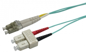 Dynamix 2M 50 micron OM3 LC to SC Fibre Patch Lead (Duplex, Multimode)