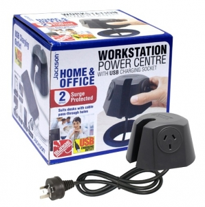 Jackson 2 Socket Desk Power Centre with 1A USB Charging Outlet