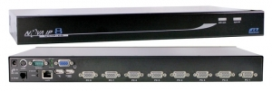 Rextron 1 port IP KVM Switch plus 8 port USB & PS/2 KVM switch - 8x 1.8M USB 2in1 Cables Included