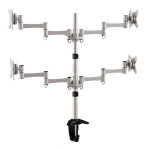 Brateck Elegant Aluminum Quad Desk Mount Bracket for 13-27 Inch Flat Panel TVs or Monitors - Up to 8kg per arm