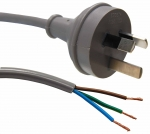 Dynamix 2M 3 Pin Plug to Bare End, 3 Core 1mm Cable, Grey Colour SAA Approved