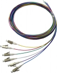 DYNAMIX 2M LC Pigtail OM3 6 Pack Colour Coded, 900um Multimode Fibre, Tight buffer