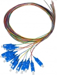 DYNAMIX 2M SC Pigtail OM3 12 Pack Colour Coded, 900um Multimode Fibre, Tight buffer
