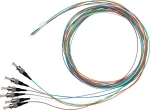 Dynamix 2M ST Pigtail OM3 6 Pack Colour Coded, 900um Multimode Fibre, Tight buffer