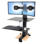Ergotron WorkFit-S Height-Adjustable Dual with Worksurface+ Display Stand