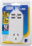 Jackson Outbound International Travel Adaptor With 4 USB Charging Ports (2.1A total) for Europe & Bali