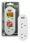 Jackson 2 Outlet Powerboard with 1 x USB Charge Outlet - Surge Protector