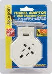 Jackson Inbound Travel Adaptor With 1 USB Charging Port (1A) for Converting USA, UK & Japanese Plugs to NZ & Australia