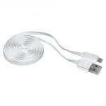 Promate LinkMate-U2F 1.2M Micro-USB to USB Charge & Sync Flat Cable - White