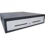 VPOS Cash Drawer EC460 5 Notes 10 Coins 24V - Black with Stainless Steel Front