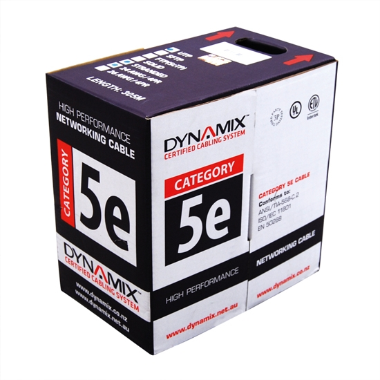 DYNAMIX 305M Cat5E Black UTP SOLID Cable Roll. 350MHz, 24 AWGx4P, PVC Jacket. Supplied in Pull Box