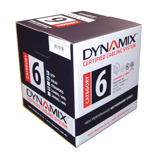 DYNAMIX 305M Cat6 Blue UTP STRANDED Cable Roll. 550MHz, 24 AWGx4P, PVC Jacket. Supplied on a Reel Box