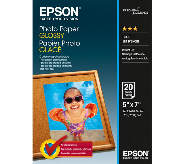 Epson 5 x 7 Inch Glossy Photo Paper - 20 Sheets
