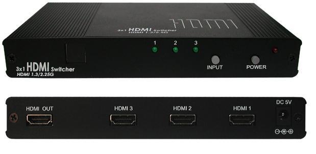 CYP HDMI 3 in 1 out Switch HDMI 1.3, HDCP 1.1 and DVI 1.0 compliant. Includes remote control