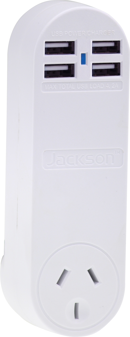 Jackson Surge Protected Single Power Plug with 4 x USB (4.2A Max) Charging Outlets