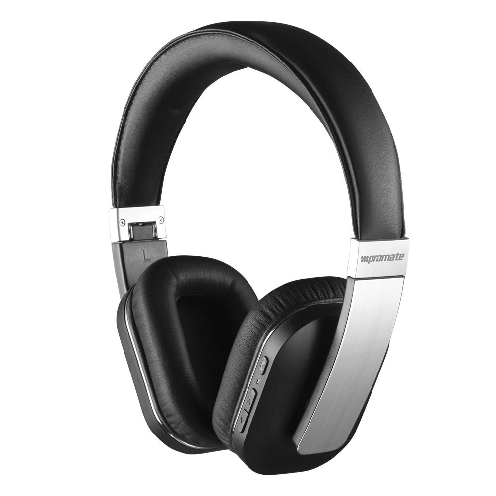 promate impact acoustic over ear bluetooth headphones black elive nz. Black Bedroom Furniture Sets. Home Design Ideas