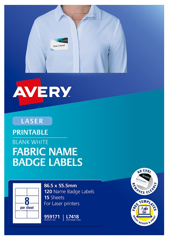 Avery L7418 Fabric White Laser 86.5 x 55.5mm Removable Name Badge Labels - 120 Pack
