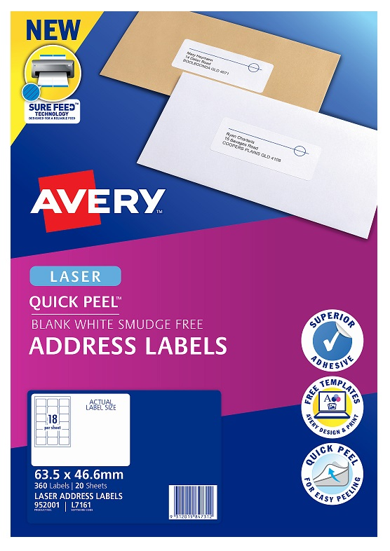 Avery L7161 White Laser 63.5 x 46.6mm Permanent Quick Peel Address Labels with Sure Feed - 360 Pack