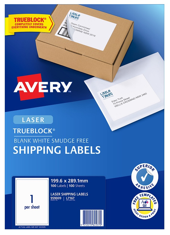 Avery L7167 White Laser 199.6 x 289.1mm Permanent Shipping Labels with Trueblock - 100 Pack