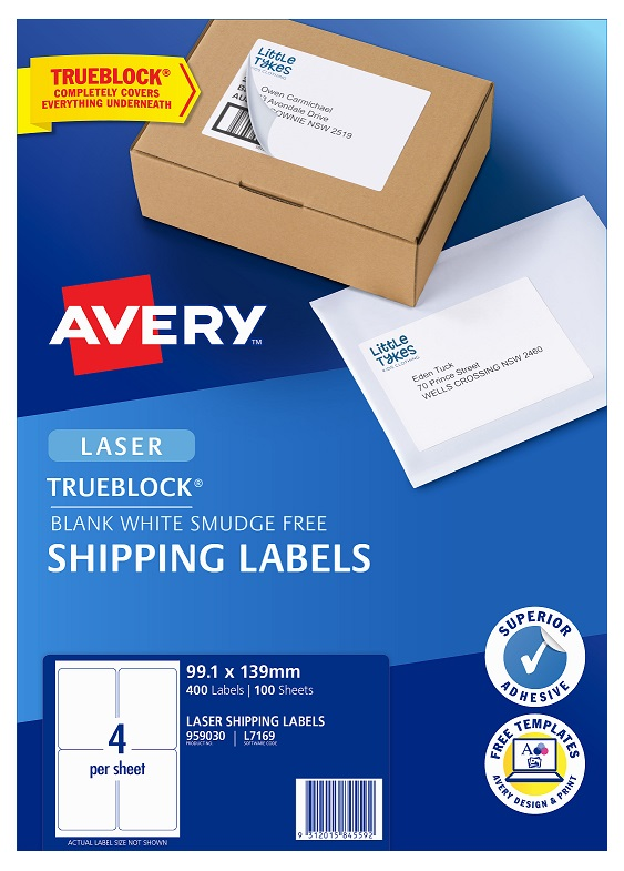 Avery L7169 White Laser 99.1 x 139mm Permanent Shipping Labels with Trueblock - 400 Pack