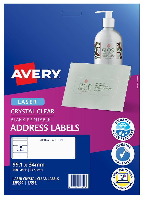 Avery L7562 Crystal Clear Laser 99.1 x 34mm Permanent Address Labels - 400 Pack