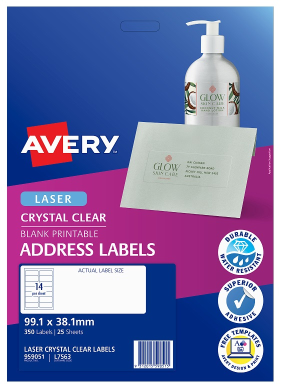 Avery L7563 Crystal Clear Laser 99.1 x 38.1mm Permanent Address Labels - 350 Pack