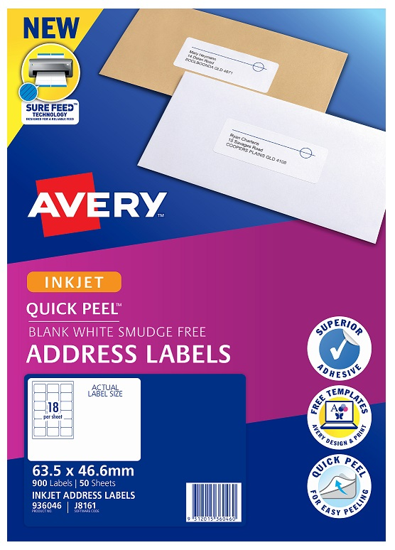 Avery J8161 White Inkjet 63.5 x 46.6mm Permanent Quick Peel Address Labels with Sure Feed - 900 Pack