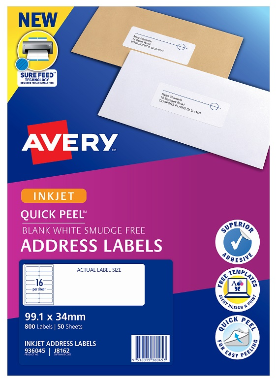 Avery J8162 White Inkjet 99.1 x 34mm Permanent Quick Peel Address Labels with Sure Feed - 800 Pack