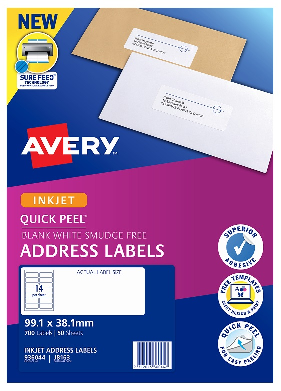 Avery J8163 White Inkjet 99.1 x 38.1mm Permanent Quick Peel Address Labels with Sure Feed - 700 Pack