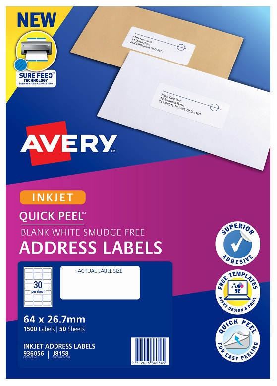 Avery J8158 White Inkjet 64 x 26.7mm Permanent Quick Peel Address Labels with Sure Feed - 1500 Pack