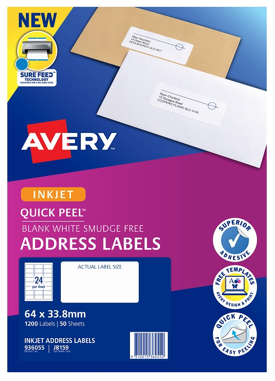 Avery J8159 White Inkjet 64 x 33.8mm Permanent Quick Peel Address Labels with Sure Feed - 1200 Pack