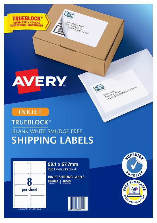 Avery J8165 White Inkjet 99.1 x 67.7mm Permanent Shipping Labels with Trueblock – 200 Pack