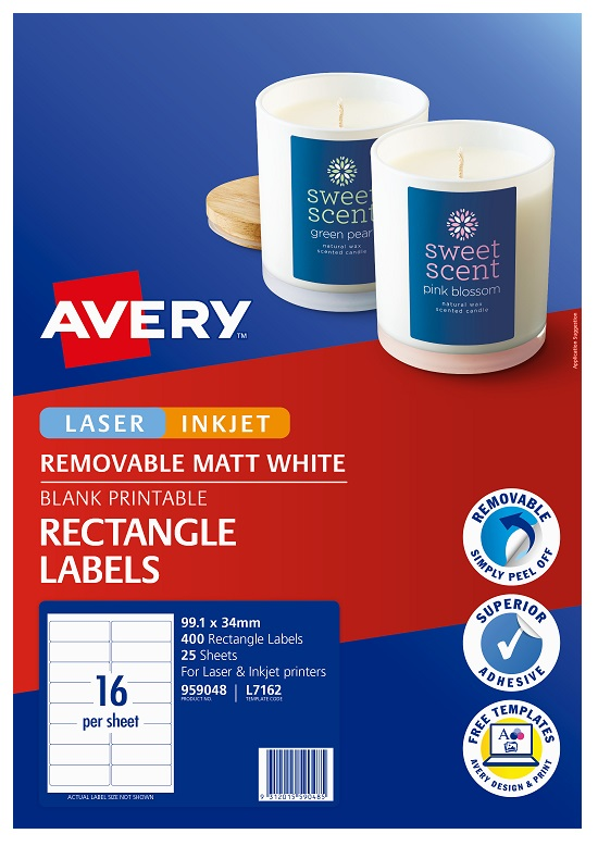 Avery L7162 White Laser Inkjet 99.1 x 34mm Removable Multi-Purpose Labels – 400 Pack