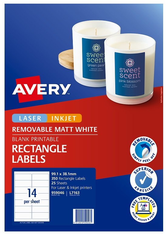 Avery L7163 White Laser Inkjet 99.1 x 38.1mm Removable Multi-purpose Labels - 350 Pack