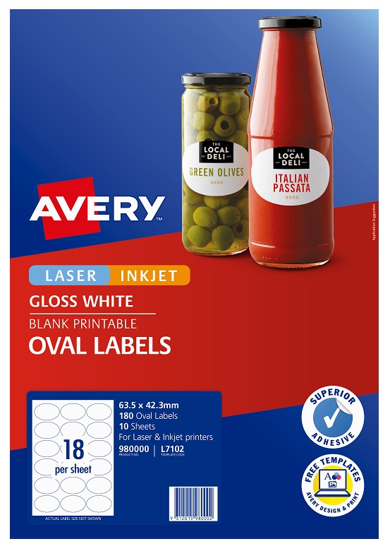 Avery L7102 Glossy White Laser Inkjet 63.5 x 42.3 mm Oval Permanent Labels - 180 Pack