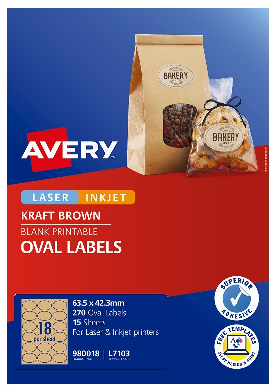 Avery L7103 Kraft Brown Laser Inkjet 64 x 42mm Oval Permanent Product Labels - 270 Pack