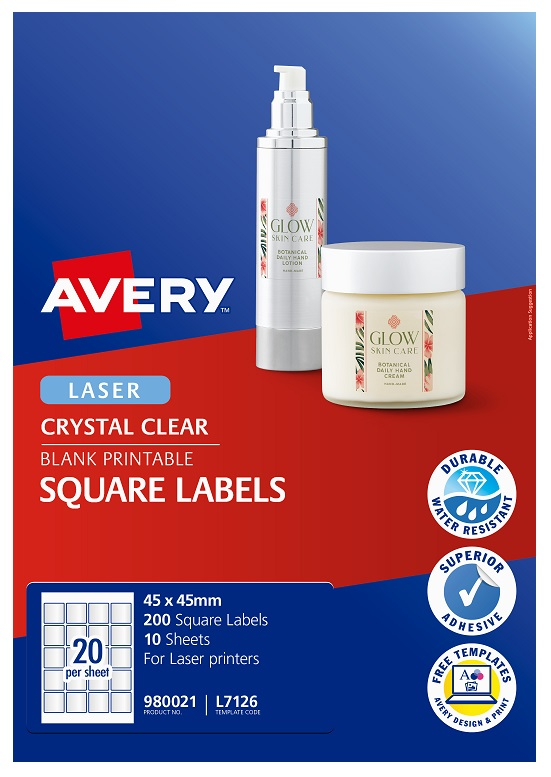 Avery L7126 Crystal Clear Laser 45mm Square Permanent Product Labels - 200 Pack