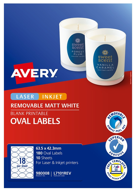 Avery L7101REV Matte White Laser Inkjet 64 x 42mm Oval Removable Product Labels - 180 Pack