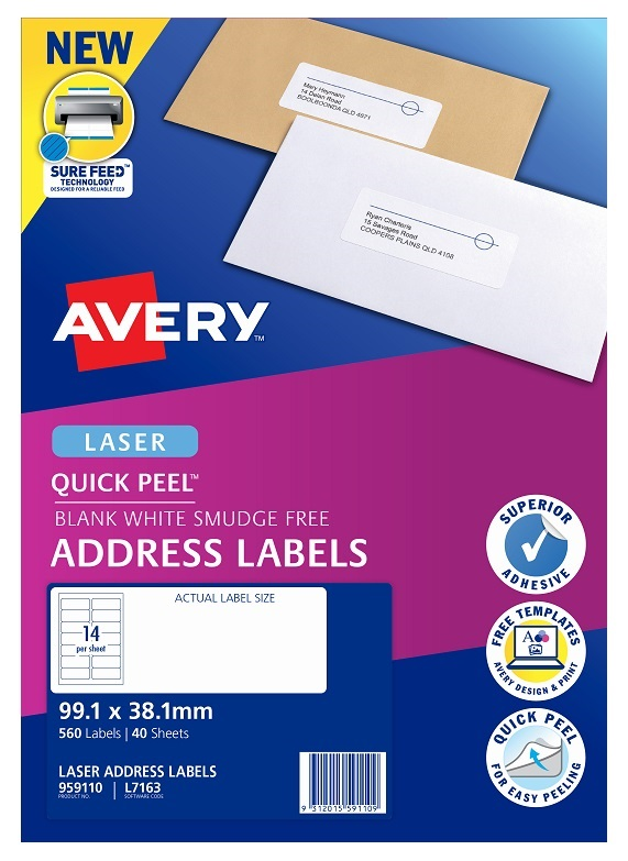 Avery L7163 White Laser 99.1 x 38.1mm Permanent Quick Peel Address Labels with Sure Feed – 560 Pack