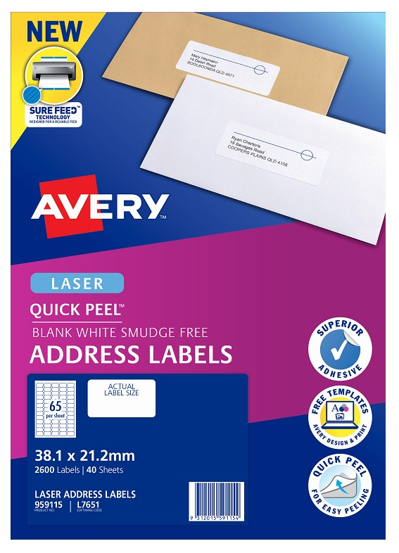Avery L7651 White Laser 38.1 x 21.2 mm Permanent Quick Peel Address Labels with Sure Feed - 2600 Pack