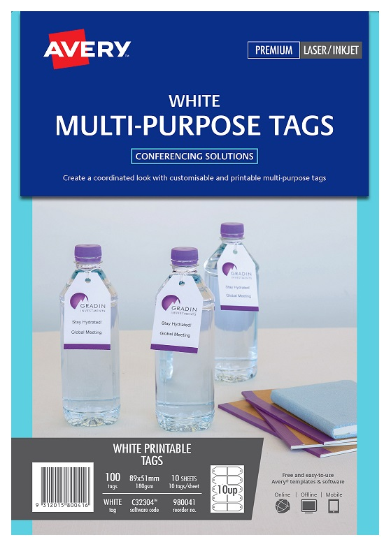 Avery C32304 White Inkjet 89 x 51mm Double Sided Printable Tags - 100 Pack