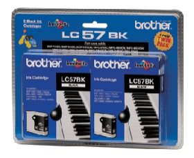 Brother LC57BK Black Ink Cartridge - Twin Pack