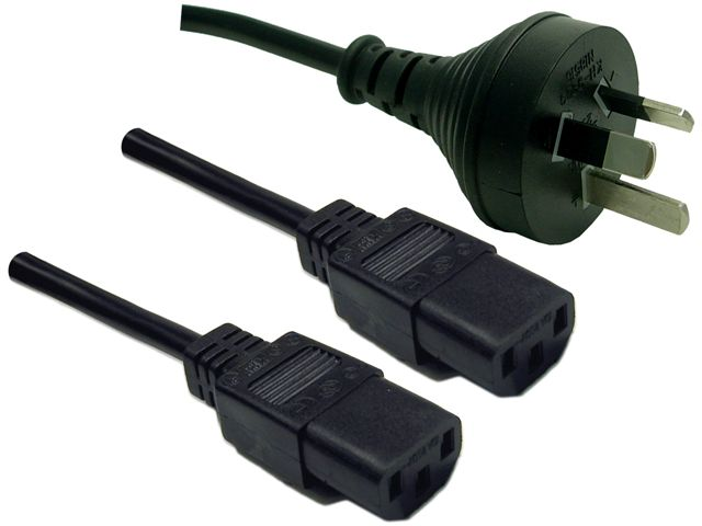 Dynamix 2m 3 Pin Plug to 2x IEC Female Plug SAA Approved Y Power Cord Cable